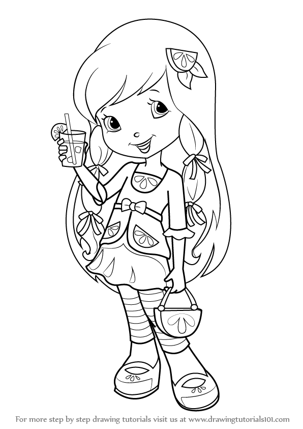 Learn how to draw lemon meringue from strawberry shortcake for Strawberry shortcake characters coloring pages