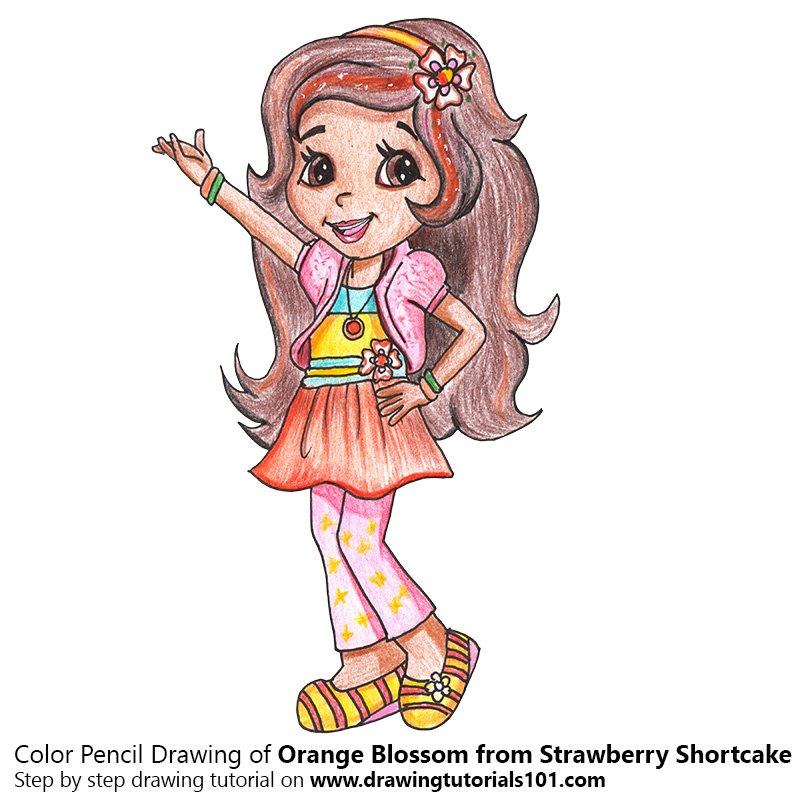 orange blossom from strawberry shortcake colored pencils drawing
