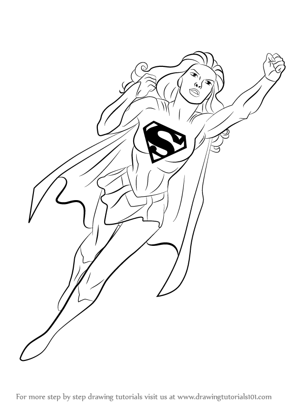 Learn How To Draw Supergirl Supergirl Step By Step