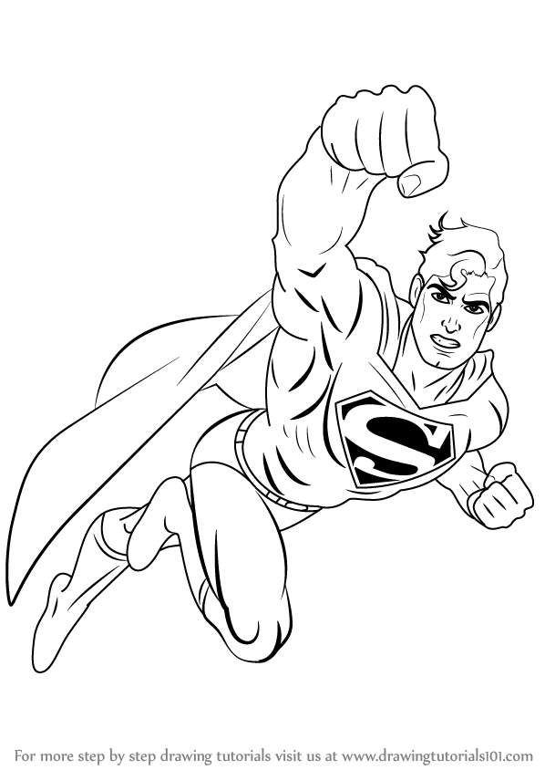 learn how to draw superman flying superman step by step