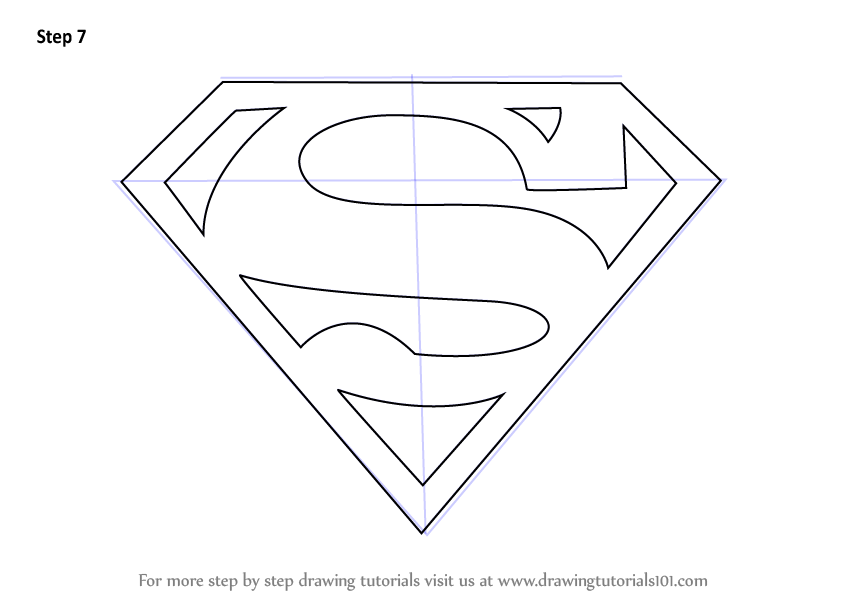 Learn how to draw superman symbol superman step by step drawing tutorials