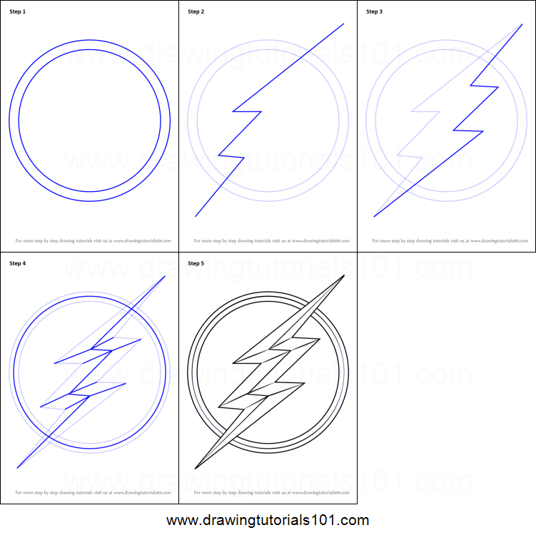 How To Draw The Flash Symbol Printable Step By Step Drawing Sheet DrawingTutorials101