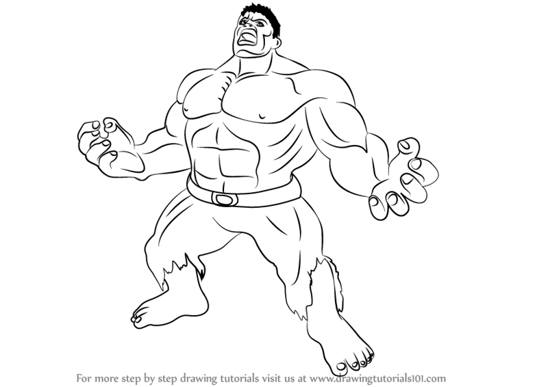 Hulk Face Line Drawing : Learn how to draw angry hulk the step by