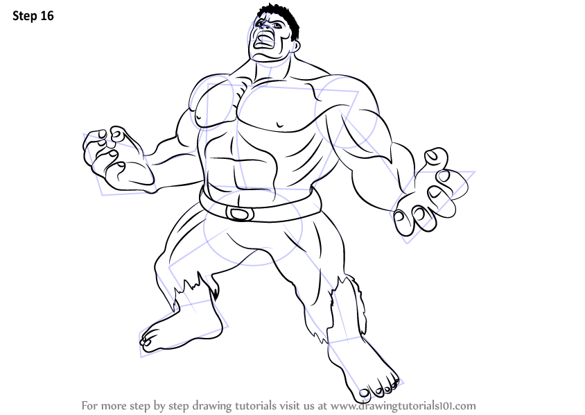 Step By Step How To Draw Angry Hulk : DrawingTutorials101.com