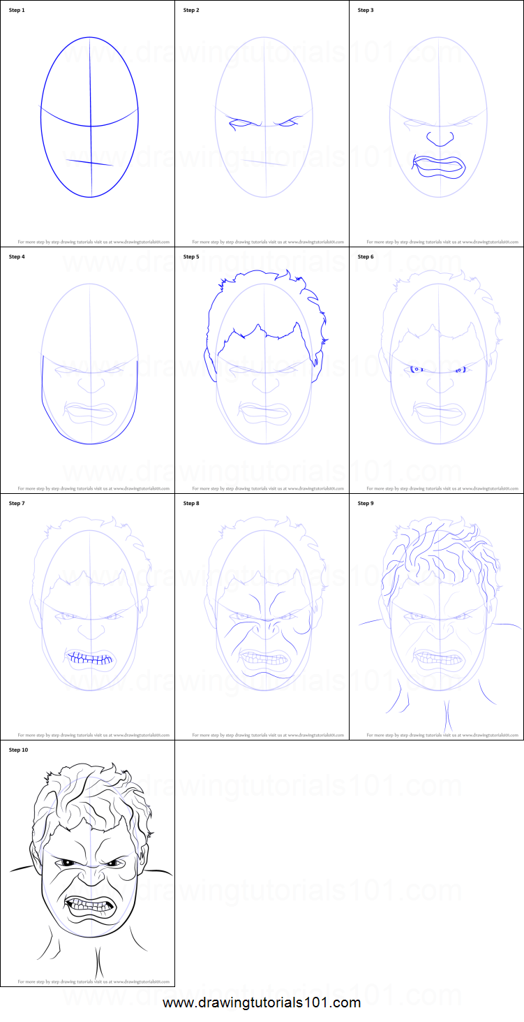 How To Draw The Hulk Face Printable Step By Step Drawing Sheet