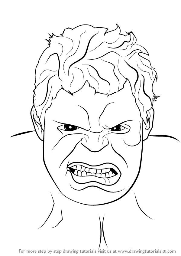 Step by step how to draw the hulk face for Incredible hulk face template