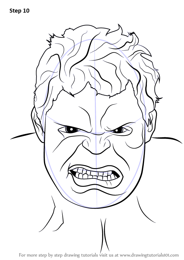 Hulk Face Line Drawing : Learn how to draw the hulk face step by