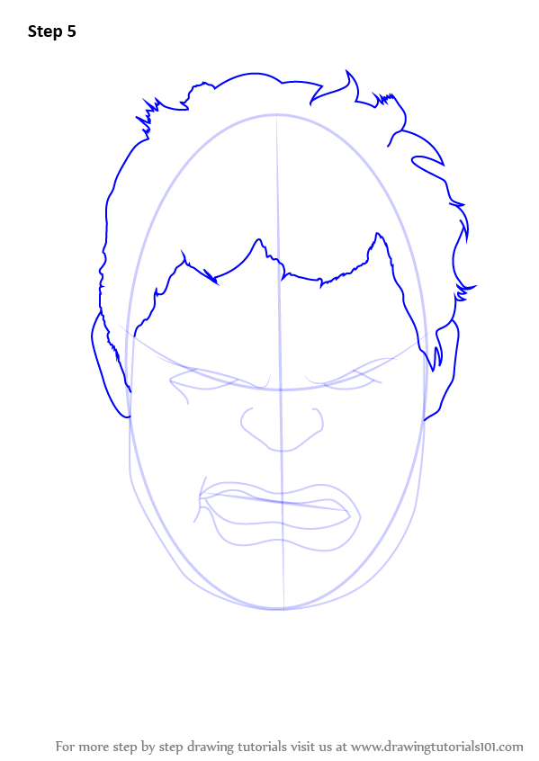 Hulk Face Line Drawing : Step by how to draw the hulk face