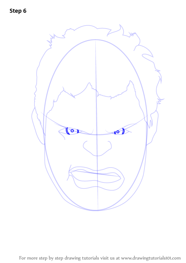 step by step how to draw the hulk face