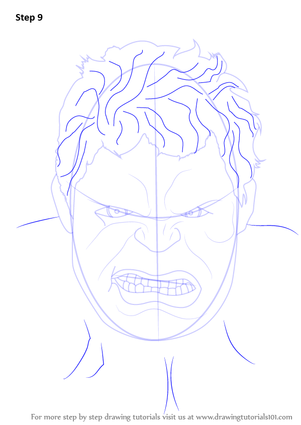 Learn How To Draw The Hulk Face The Hulk Step By Step Drawing