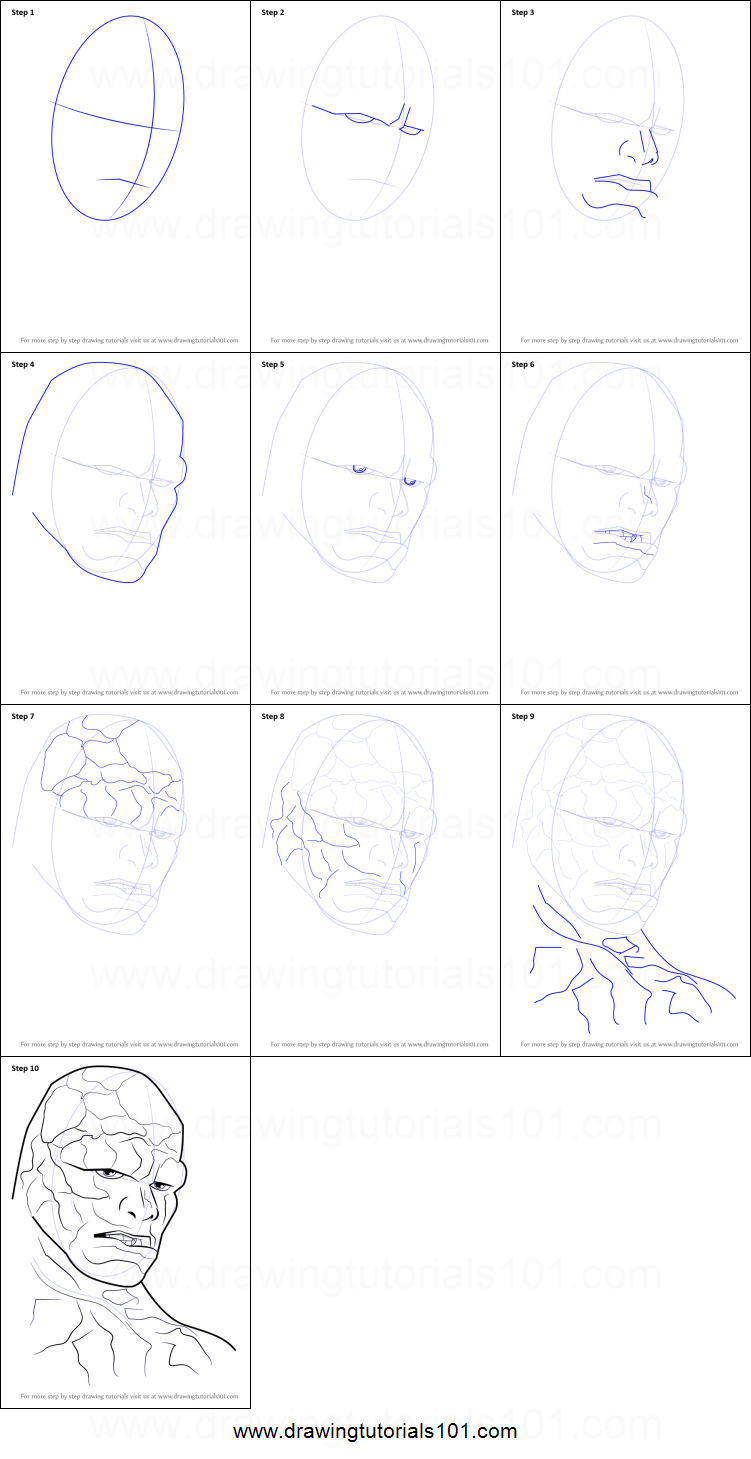 How To Draw The Thing Face Printable Step By Step Drawing Sheet :  Drawingtutorials101 How To