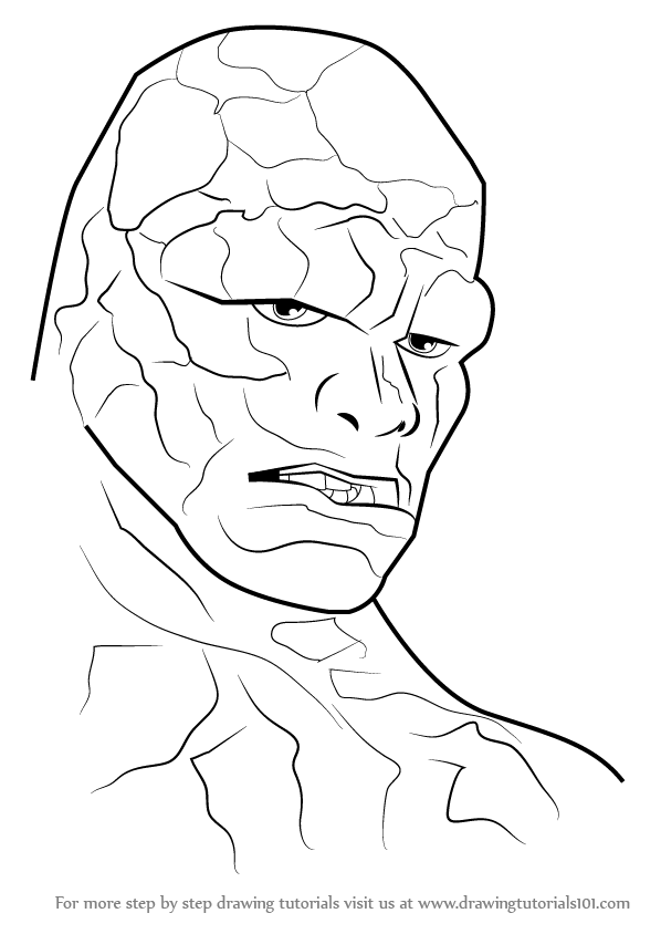 learn how to draw the thing face the thing step by step