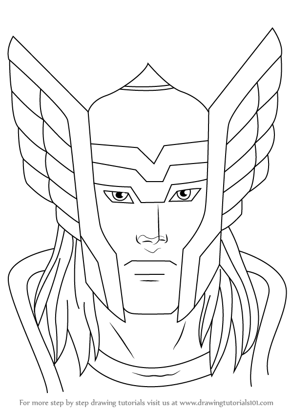 Step By Step How To Draw Thor Face Drawingtutorials101 Com