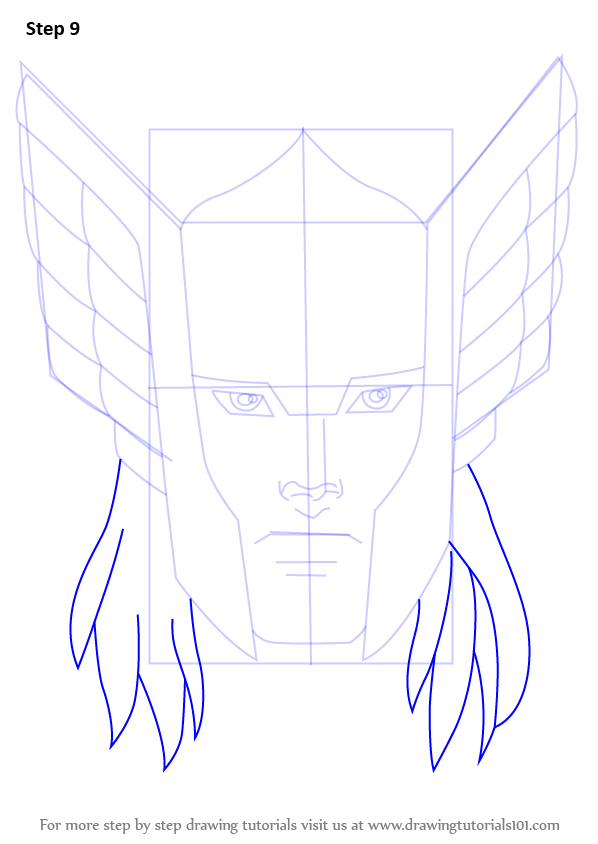 Step by Step How to Draw Thor Face