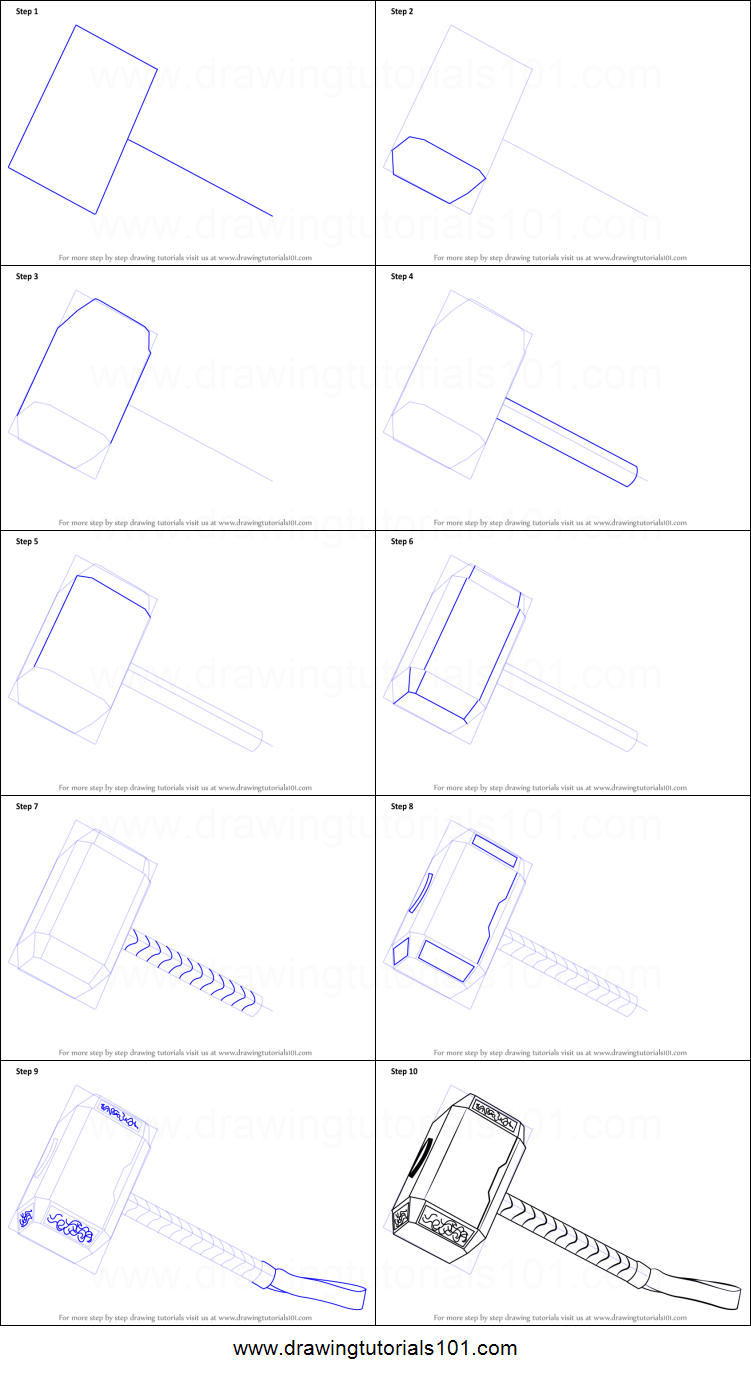 how to draw thor 39 s hammer printable step by step drawing