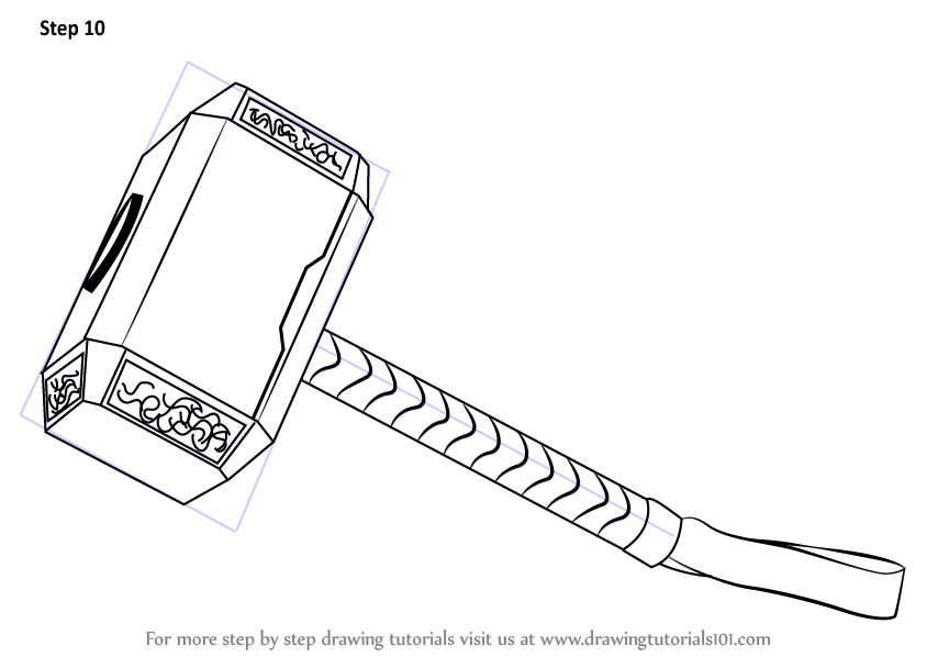 Learn how to draw thors hammer thor step by step drawing tutorials