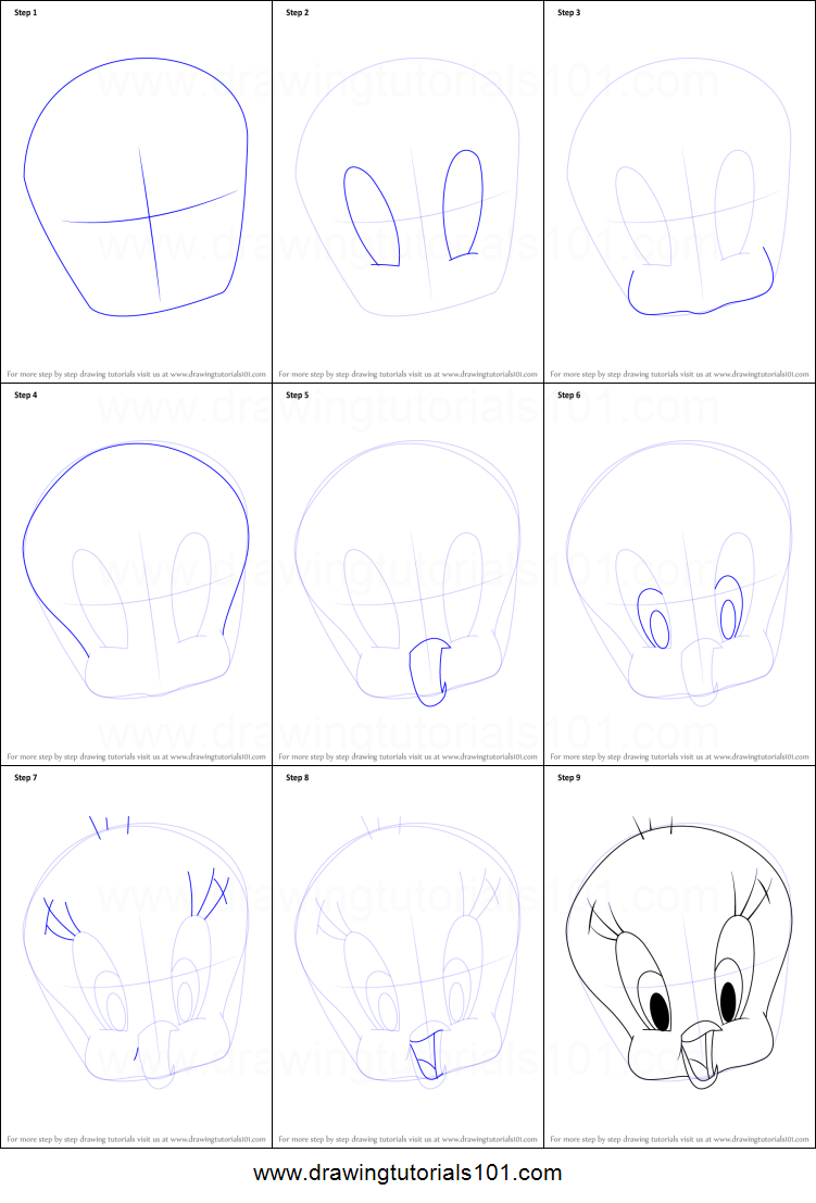 Uncategorized How To Draw Tweety how to draw tweety bird face printable step by drawing sheet drawingtutorials101 com