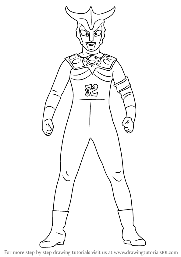 Step by step drawing tutorial on how to draw an ultraman leo
