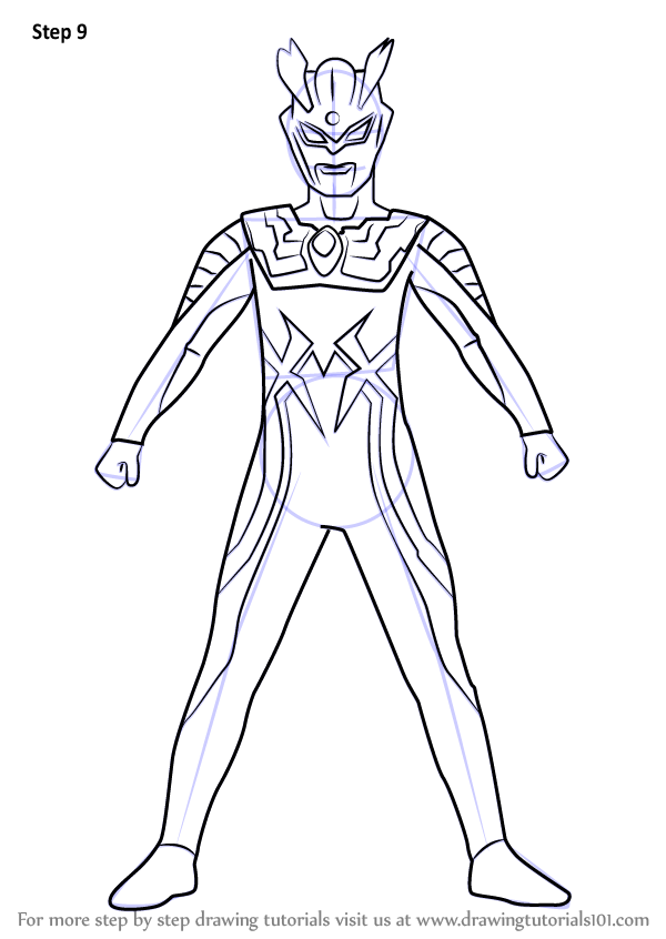 Learn Draw Ultraman Zero Step
