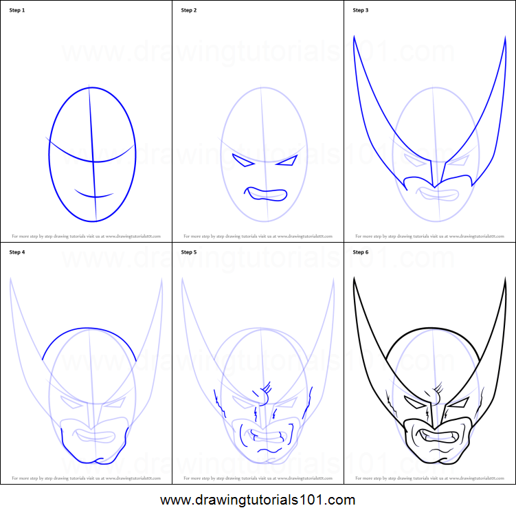 how to draw wolverine head printable step by step drawing sheet drawingtutorials101com