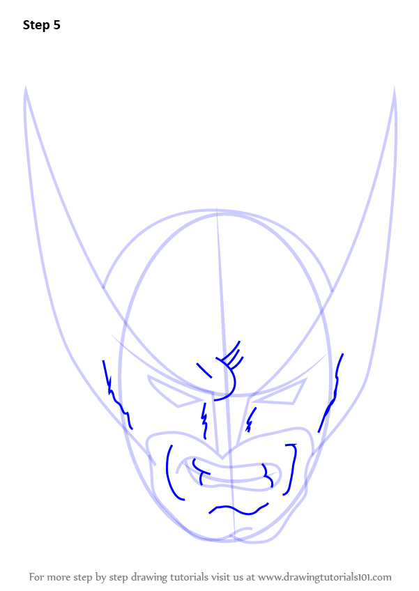 Step by Step How to Draw Wolverine Head : DrawingTutorials101.com