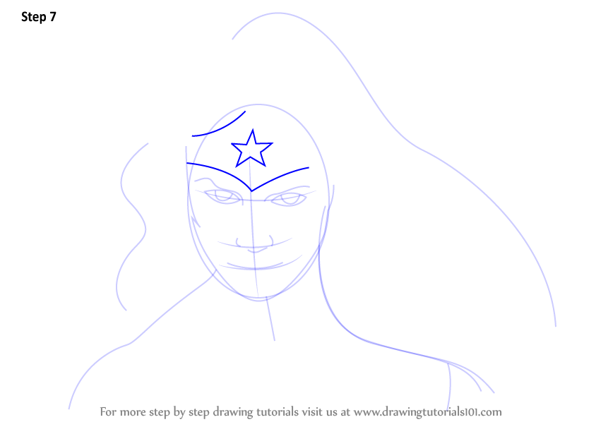 Learn How to Draw Wonder Woman Face (Wonder Woman) Step by ...
