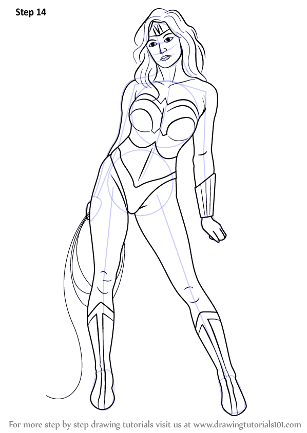 learn how to draw wonder woman wonder woman step by step