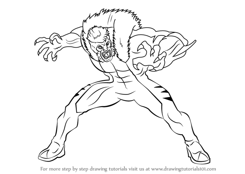 Learn How to Draw Sabretooth from X-Men (X-Men) Step by ...