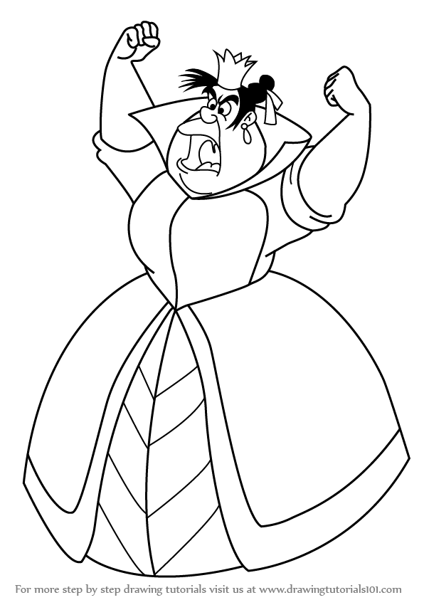 Line Drawing Queen : Learn how to draw queen of hearts from alice in wonderland
