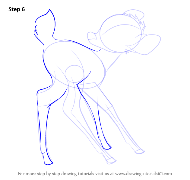 step by step how to draw bambi from bambi drawingtutorials101com