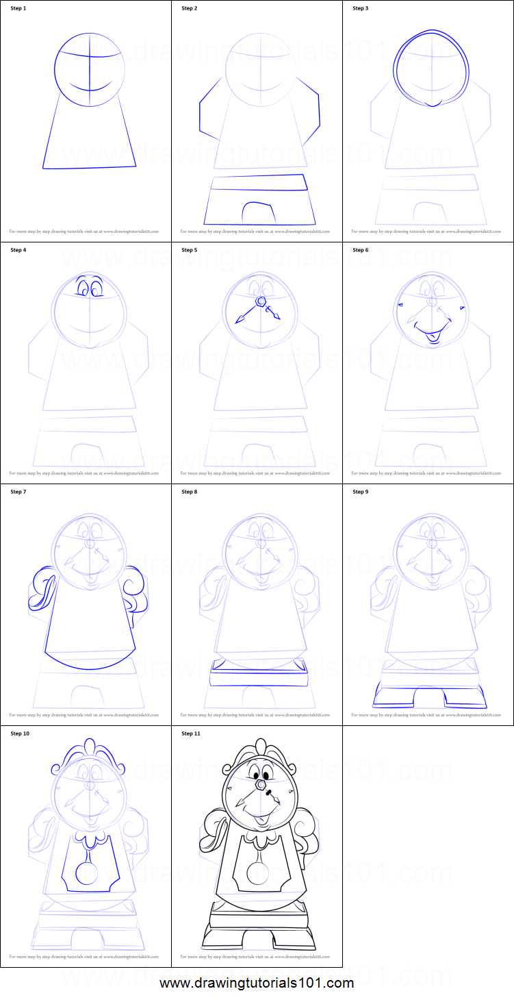 How To Draw Cogsworth From Beauty And The Beast Printable Step By Drawing Sheet DrawingTutorials101