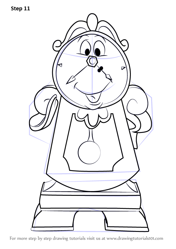 Learn How To Draw Cogsworth From Beauty And The Beast Beauty And The Beast Step By Step