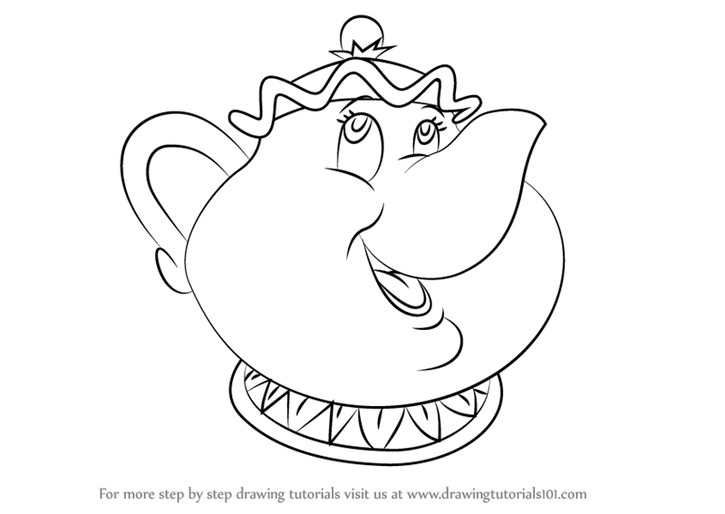 Learn How To Draw Mrs Potts From Beauty And The Beast Step By Drawing Tutorials