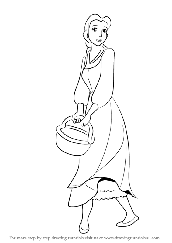 How To Draw Peasant Belle From Beauty And The Beast