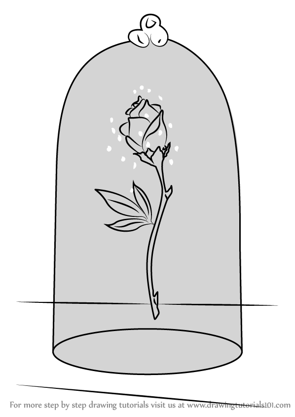 Learn how to draw the enchanted rose from beauty and the for How to draw a black and white rose