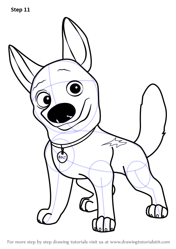 Learn how to draw bolt the dog bolt step by step drawing tutorials