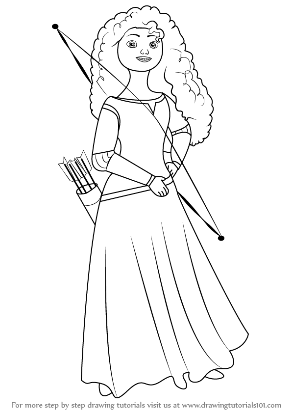normal princess coloring pages | Learn How to Draw Merida Elinor from Brave (Brave) Step by ...