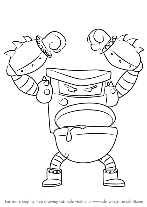 learn how to draw turbo toilet 2000 from captain underpants movie  captain underpants movie Captain Underpants Characters  Captain Underpants Movie Coloring Pages