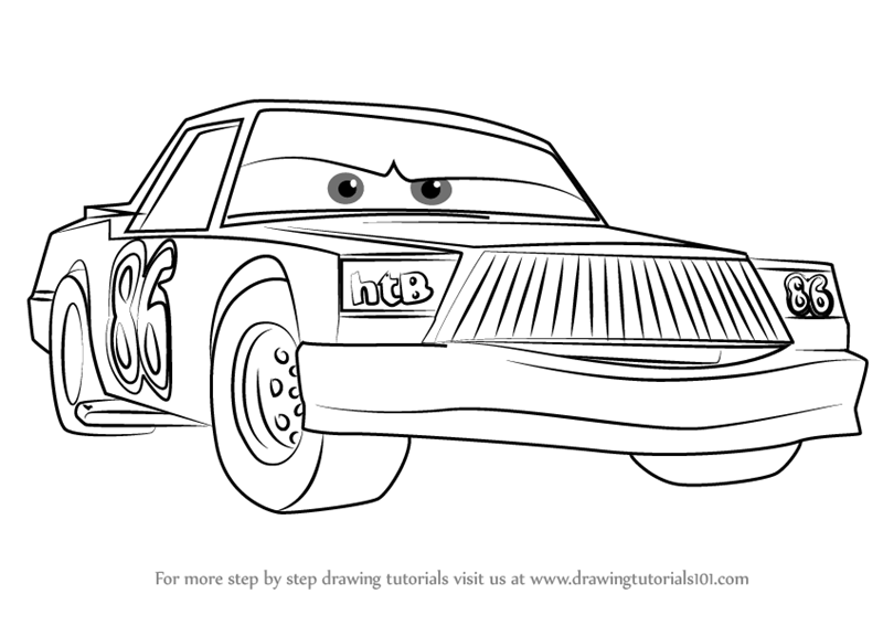 Learn How To Draw Chick Hicks From Cars 3 Cars 3 Step By Step