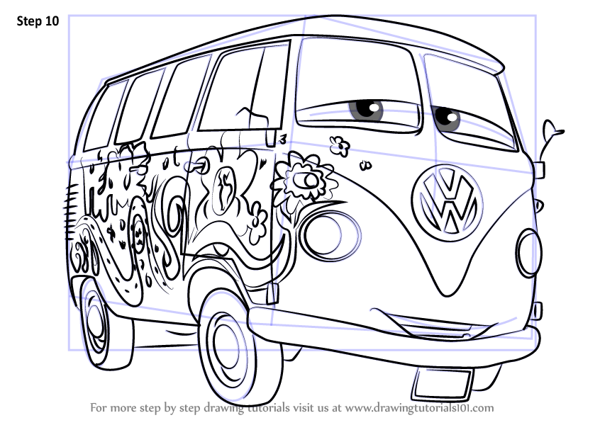 Learn How To Draw Fillmore From Cars 3 (Cars 3) Step By