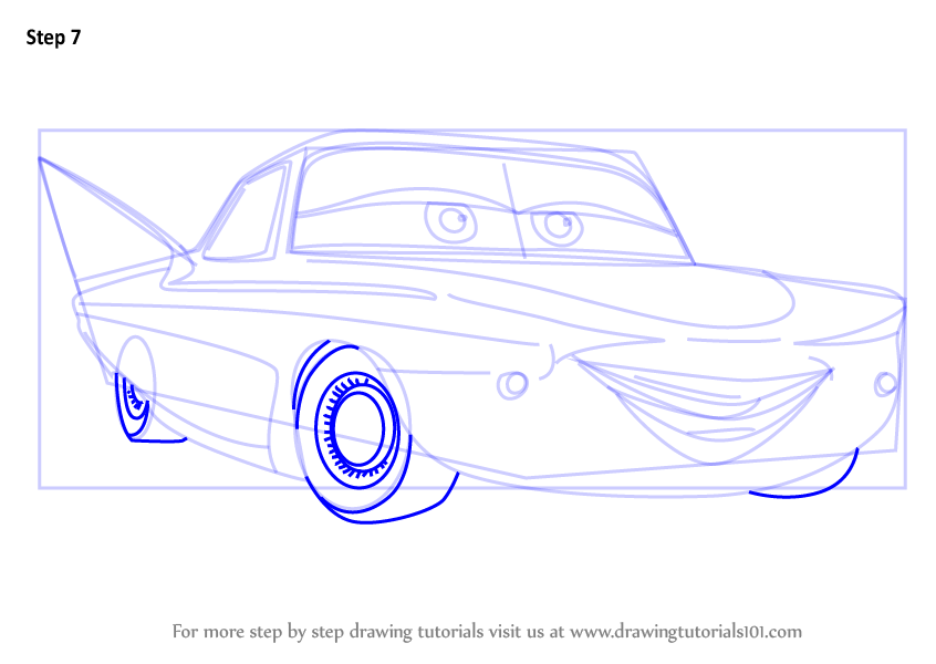 Learn how to draw flo from cars 3 cars 3 step by step for How to draw flo