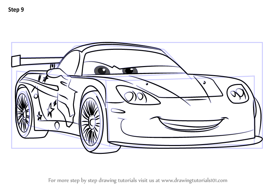 Learn How To Draw Jeff Gorvette From Cars 3 (Cars 3) Step
