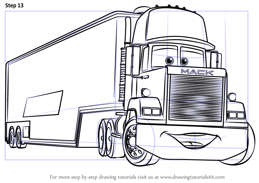 Learn How To Draw Mack From Cars 3 (Cars 3) Step By Step