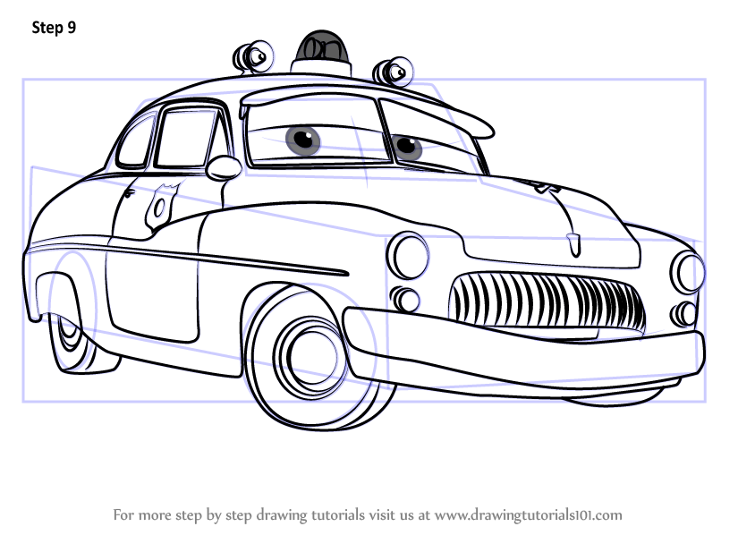 Learn How To Draw Sheriff From Cars 3 (Cars 3) Step By