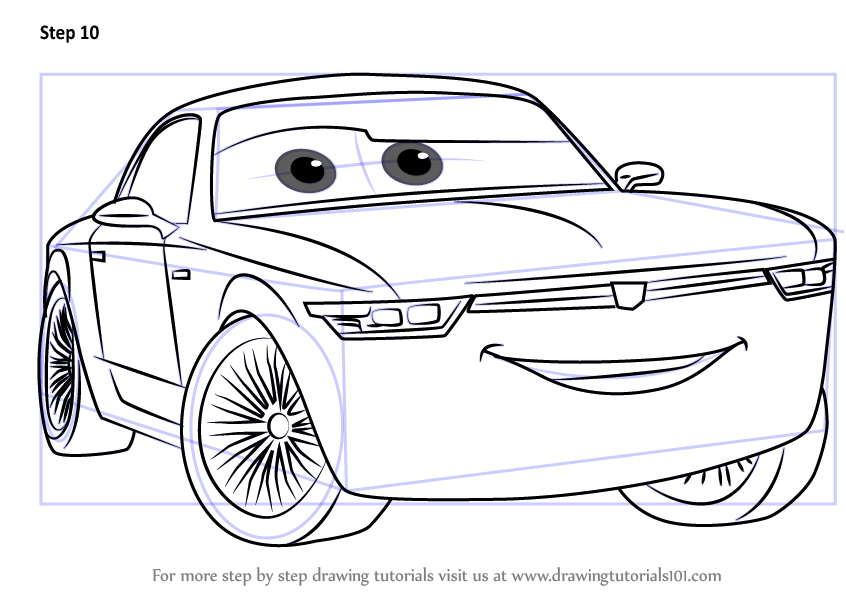 Learn How To Draw Sterling From Cars 3 (Cars 3) Step By