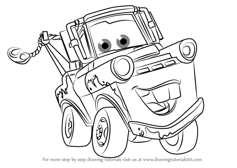 Step by Step How to Draw Tow Mater from Cars 3 : DrawingTutorials101.com