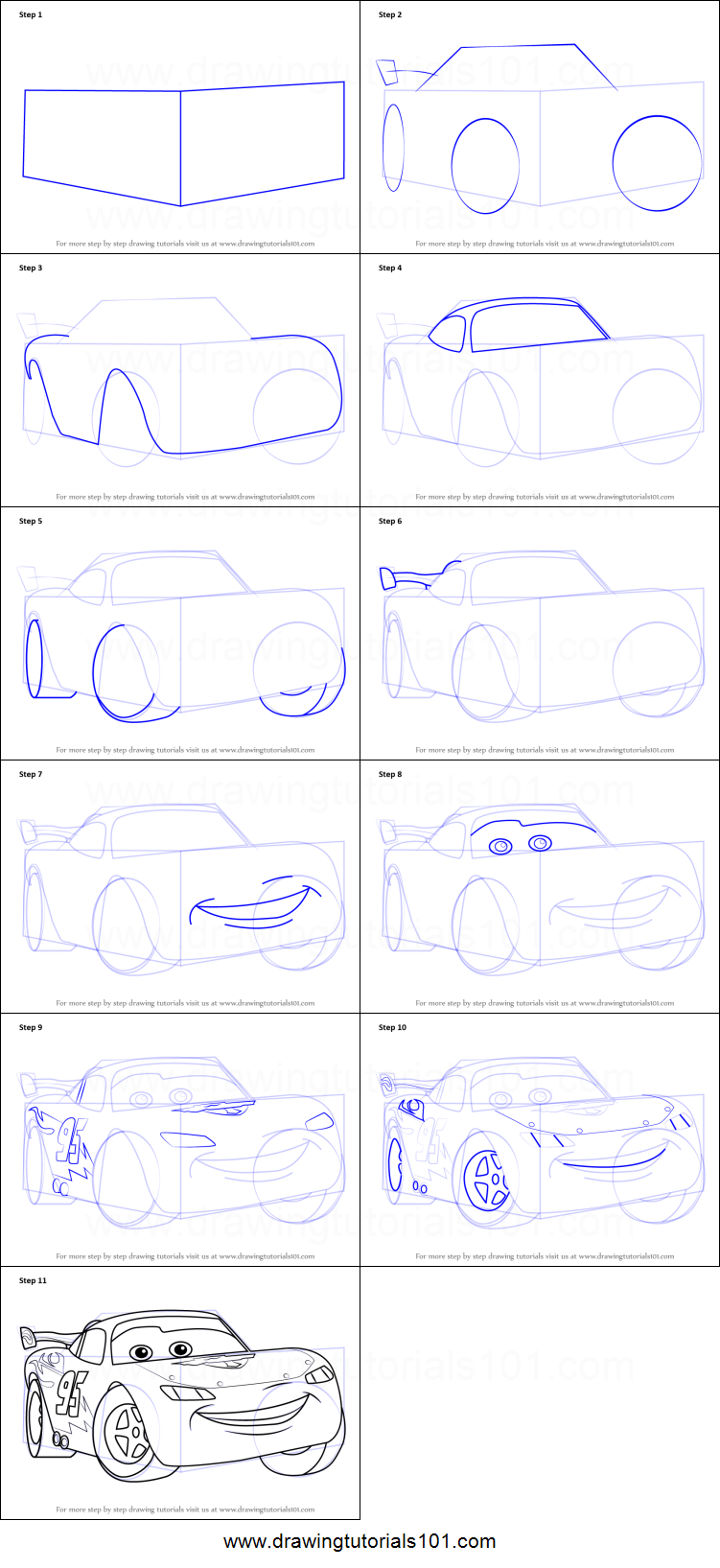 How to Draw Lightning McQueen from Cars printable step by ...