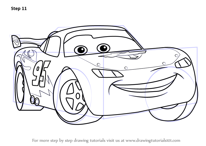 Learn how to draw lightning mcqueen from cars cars step by step drawing tutorials