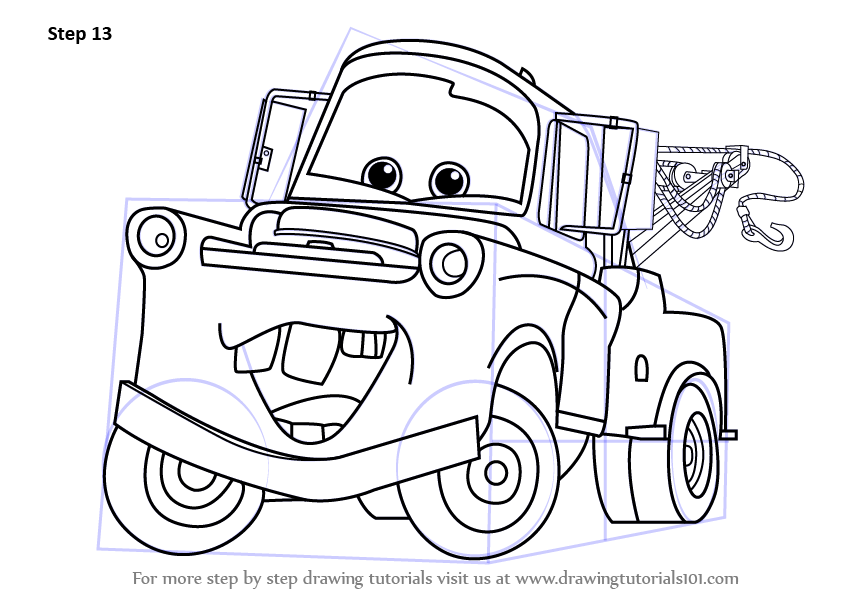Step by Step How to Draw Tow Mater
