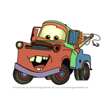 How to Draw Tow Mater from Cars